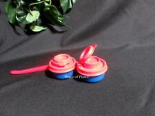 Tupperware New Mini Smidgets 1 oz Blue Salt N Pepper Shakers Red Seals & Peeler