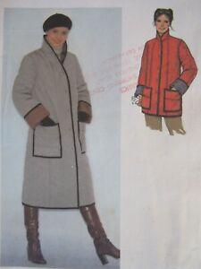 Lovely VTG 79 SIMPLICITY 9169 Misses Quilted Coat or Jacket PATTERN 12/34B