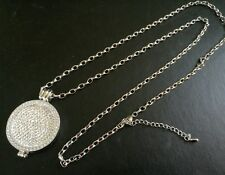 33mm Coin Silver Necklace locket CZ Stainless Steel Disc Pendant Christmas 379