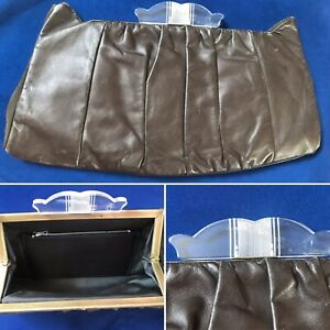 1930's 1940's Deco Style Leather? Large Lucite Bag Chocolate Brown