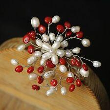 Broche Artesanal perla cultivada Blanco Flor Coral Rojo Original Clase