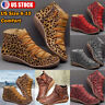 Womens Leopard Ankle Boots Suede Round Toe Shoes Casual Flat Zip Up Booties Size