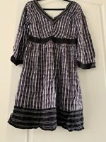 NEW Ladies Calvin Klein cK Purple Geo Long Sleeve Smock Dress L Womens Summer