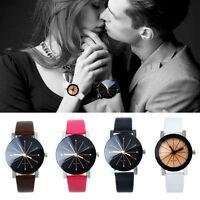 Couples Watch Unisex Leather Bracelet Watch Round Case Analog Quartz Wristwatch