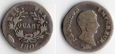 TOP RARE MONNAIE D'UN QUART DE FRANC ARGENT DE NAPOLEON EMPEREUR 1806 I LIMOGES