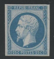 "FRANCE STAMP YVERT 10 SCOTT 11 "" EMPEROR NAPOLEON 25c BLUE "" MH VF FIRMED"