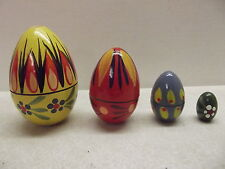 VINTAGE POLISH HAND PAINTED WOOD NESTING EGGS DOLLS 4 NESTS MADE IN POLAND