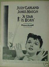 """1954 Judy Garland """"A Star Is Born"""" Warner Bros.Movie Memorabilia Promo Trade AD"""