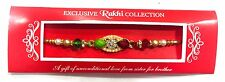 Rakhi Bracelet / Rakhi Thread Pearl and White Stone Rakhi with Red and Green