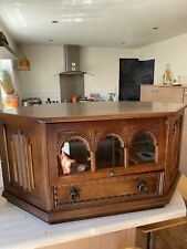 Old Charm ?Style Oak Corner TV Stand Cabinet Lift Over Gothic Arch Door / Drawer