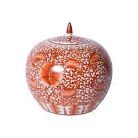 "Orange and White Twisted Lotus Porcelain Melon Jar 10"""