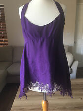 Karen Millen Purple Silk Top with Ruffle Back size 10