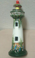 Wood Light House Green White & Floral Hand Painted Nautical Decor