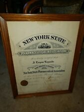 Authentic State Board Of Pharmacy 1917 Original diploma Picture New York State