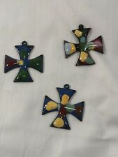 Set Of Three Enamel On Copper Maltese Crosses