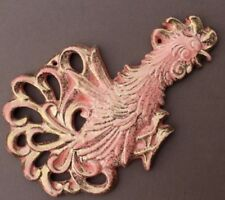 Vtg MCM Ceramic Pottery Pink Gold Rooster Cock Bird Stamped Cali Wall Plaque