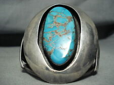 New ListingMuseum Signed Vintage Navajo Blue Thunder Turquoise Sterling Silver Bracelet