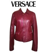 VERSACE ~ REAL Leather burgundy color jacket ~ size: M / L  * AUTHENTIC
