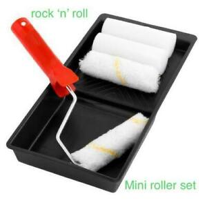 6pc Small Job PAINT ROLLER SET Touch Up Kit Mini Sleeve Handle / Tray / Rollers