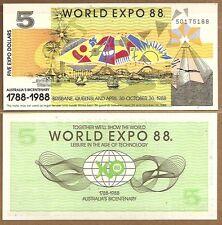 AUSTRALIA:100 BICENTENNIAL WORLD EXPO 1988 $5 BANKNOTES