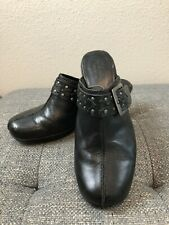Clarks Bendables Black Leather Buckle Clogs Mules 83544 B-107 Women's Size 6.5 W