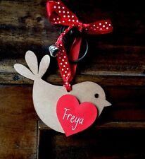 Personnalisé en bois Robin avec Jingle Cadeau pour Fête des Mères Noël Valentine