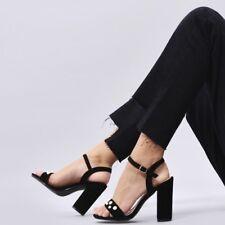 Koi Footwear Pearl Open Pack Block Heel In Black Suede EU 43 UK 9