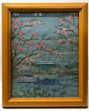 Antique Hand Embroidered Needlepoint Picture Asian-Themed with Cherry Blossoms
