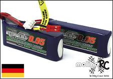 2x Turnigy nano-tech 950mah 2S 25~50C Lipo Akku NEU OVP 7,4V Blade 200 QX