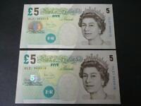 2004 PAIR CONSECUTIVE £5 NOTES BAILEY UNCIRCULATED COLUMN SORT  DUGGLEBY B398cs.