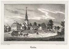 LEUBA (OSTRITZ) - Dorfkern mit Nikolaikirche - Lithografie 1840