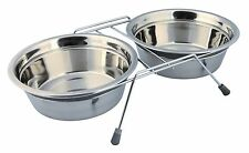 Anti Rattle Eat on Feet Stainless Steel Dog Bowl Set for Dogs 2 x 1.5L