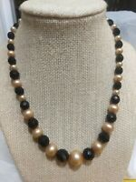 Vtg Frosted Faux Pearl+Black Faceted Czech Glass Graduated Bead Necklace Deco