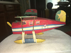 Vintage Folk Art Tin Toy Airplane 1950's. Colorful !