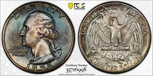 1958-P SILVER WASHINGTON QUARTER PCGS MS65 UNC DEEP BLUE COLOR BU TONED (DR)