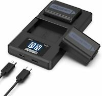 Camera Battery Charger Set, Replacement Batteries for Sony (2-Pack, 1200mAh)