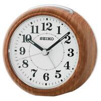 Seiko QHE157B High Quality Beep Alarm Clock with Snooze & Light - Wood Finish