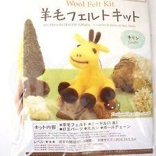 Needle Felting animal Kit dark brown yellow Roving Wool DIY Handcraft - Giraffe
