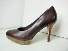 Tamaris tacón alto plataforma zapatos de salón de cuero marrón oro 38 platform shoes moca Marine