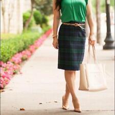 J. CREW No. 2 pencil skirt plaid tartan skirt Navy Green Size 4 Straight BLOGGER