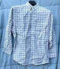 Turnbury White Plaid Long Sleeve Button Up Dress Shirt Mens Size XL 34 Non Iron