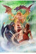 Triple Goddess Summoning The Earth Dragon Greeting Card By Briar
