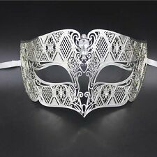 Silver Men's Smoking Venetian Metal Filigree Masquerade Mask Masked Ball Party