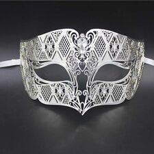 Silver Men's Smoking Venetian Metal Filigree Masquerade Mask Masked Ball Party
