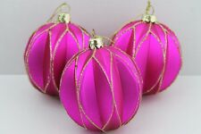 GISELA GRAHAM CHRISTMAS FUCHSIA HARLEQUIN GLASS BAUBLE BALL DECORATION X 3