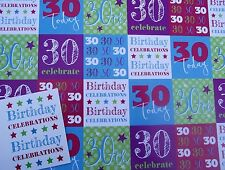 2 SHEETS 30, 30th, THIRTY WRAPPING PAPER & 1 GIFT TAG, WHITE BACKGROUND (076)