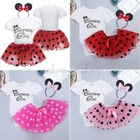 Birthday Party Girls Cartoon Mouse Tutu Skirt Kids Baby XMAS Costume Fancy Dress