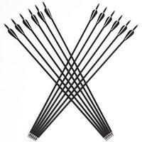 12Pcs 31'' Archery Carbon Arrows Target Practice Hunting Compound Recurve Bow
