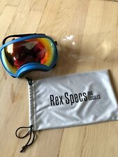 REX SPECS DOG GOGGLES - XL BLUE FRAME, CLEAR AND RED MIRROR LENS