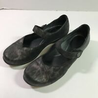 Dansko Opal Womens Black Leopard Metallic Leather Mary Jane Flats Size EU 40